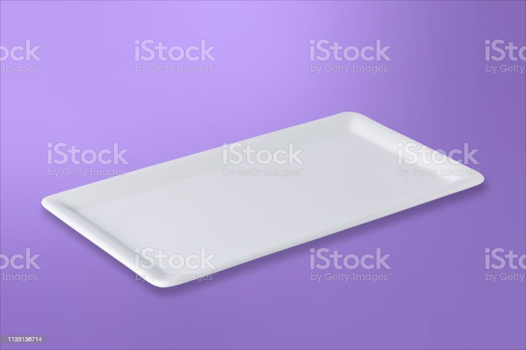 Empty white cornered plate on gradient purple background, front view,...