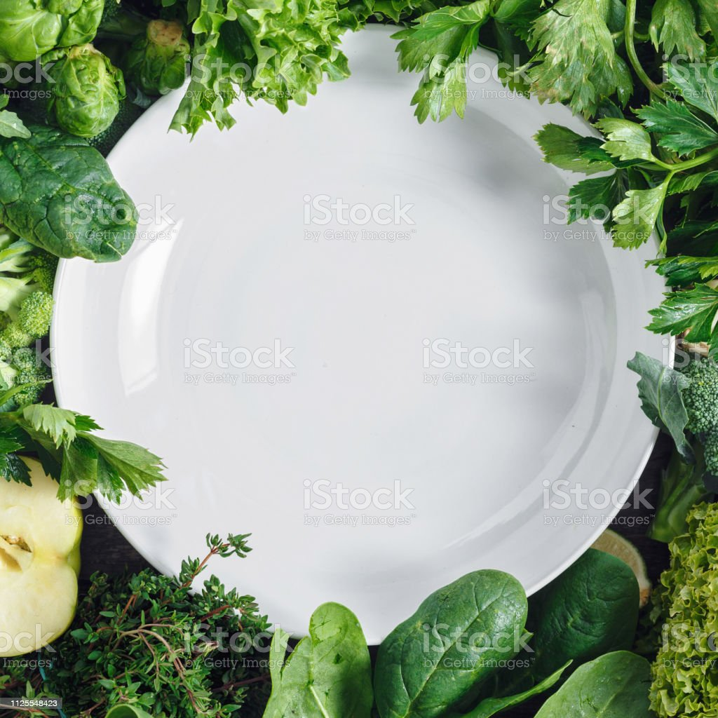 Empty White Plate Vegetables Fruit Superfood Healthy Food Ingredients Background stock photo