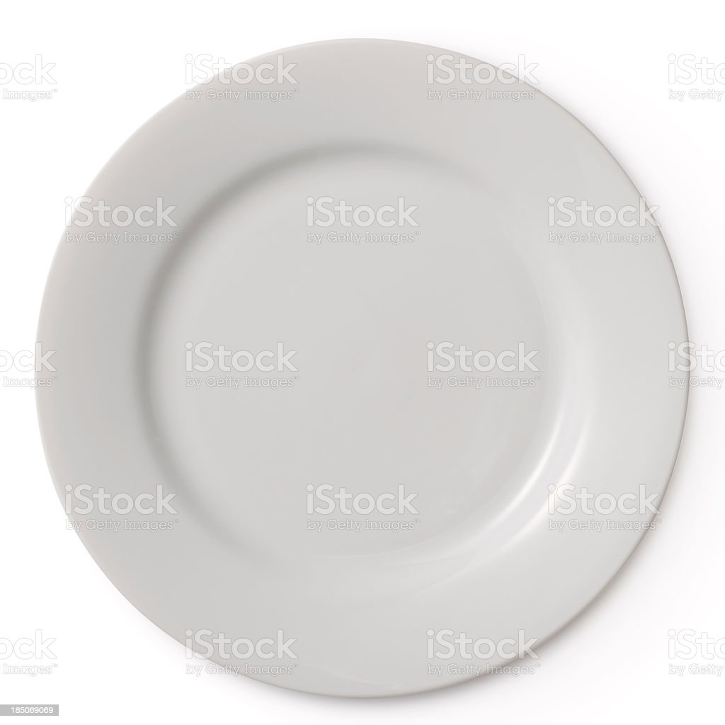 Empty white porcelain plate stock photo