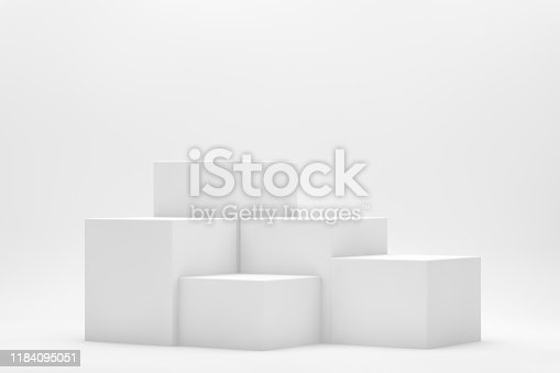 3d rendering of white color blank product stands on white background for the presentations.