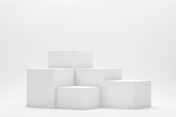 3D Empty White Product Stand, Platform, Podium on White Background - foto stock