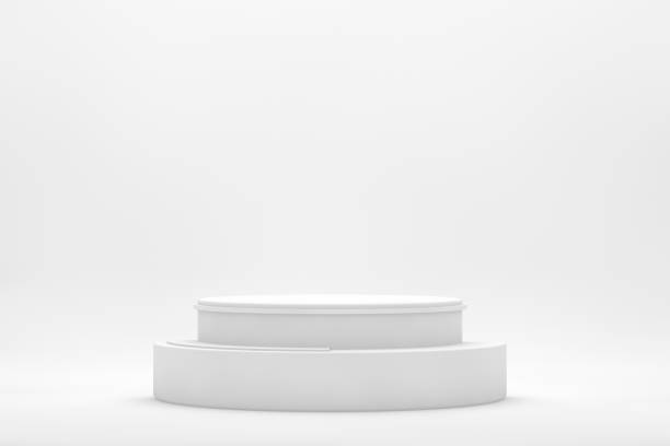 3D Empty White Product Stand, Platform, Podium on White Background stock photo