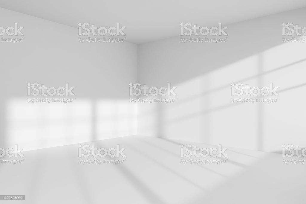 Empty white room corner interior stock photo