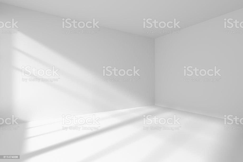 Empty white room corner with sunlight stock photo