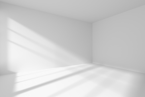 Empty White Room Corner With Sunlight Stock Photo ...