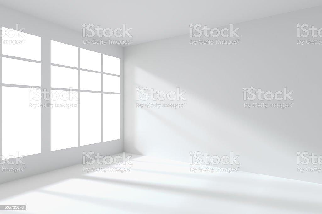 Empty white room corner with windows interior stock photo