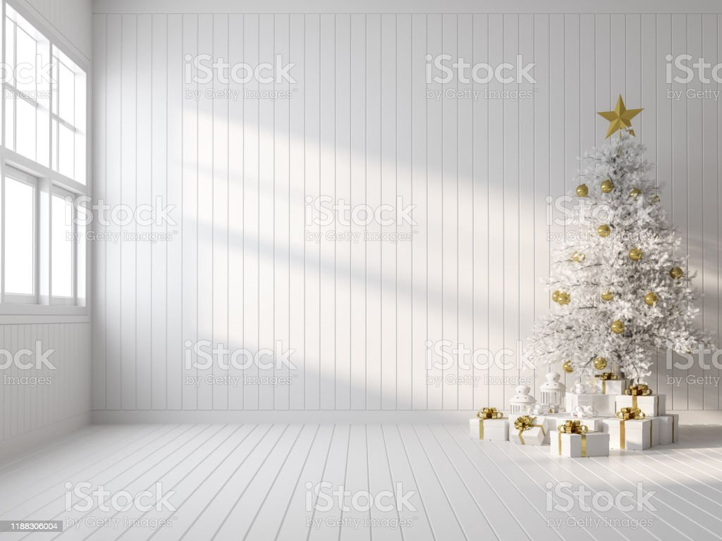 Empty white room decorate with white christmas tree 3d render Empty white room decorate with white christmas tree 3d render,there are white wood plank wall and floor ,sunlight shining into the room. Apartment Stock Photo