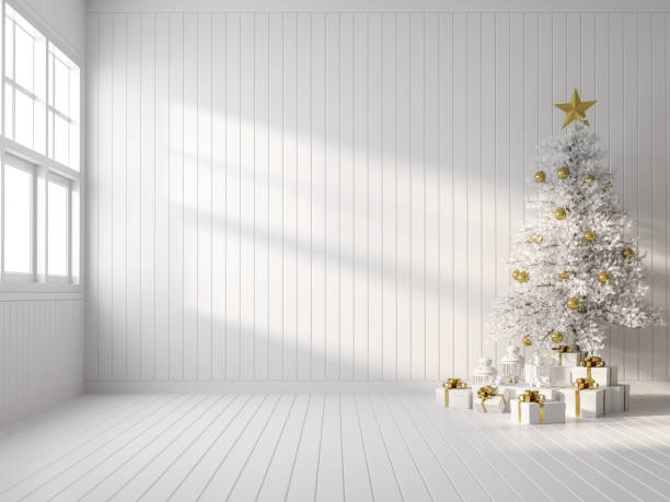 Empty white room decorate with white christmas tree 3d render stock photo