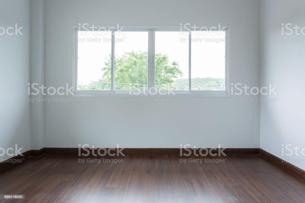 Design Du0027intérieur Vide Blanc Chambre Avec Fenêtre Coulissante Et Parquet  Stratifié Photo Libre De
