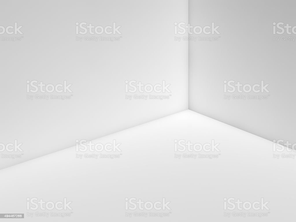 Empty white room interior fragment with corner 3 d stock photo