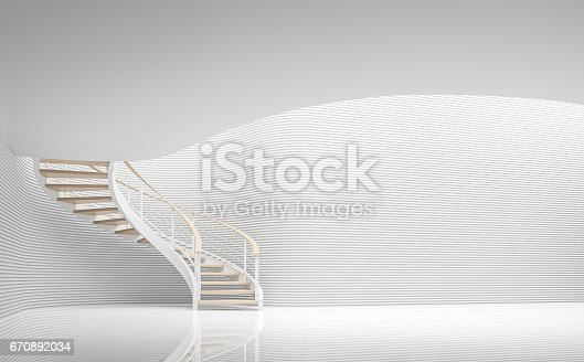 istock Empty white room modern space and spiral stair 3d rendering image 670892034