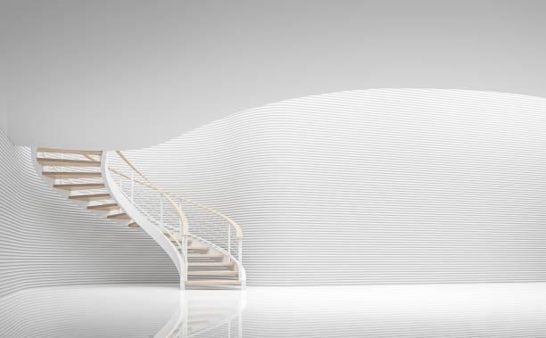 Salle blanche vide espace moderne et l'image de rendu 3d spirale d'escalier - Photo