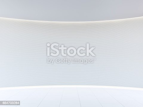 istock Empty white room modern space interior 3d rendering image 654703284
