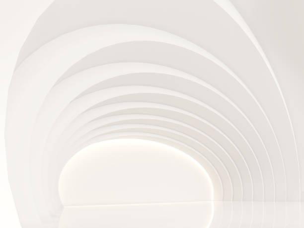 leeren weißen raum moderne raum innen 3d render bild - bogen architektonisches detail stock-fotos und bilder