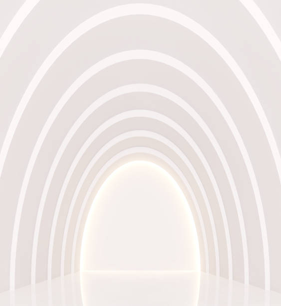 Empty white room modern space interior 3d rendering image Empty white room modern space interior 3d rendering image.a curve wall with pure white. Decorate wall with hidden light arch architectural feature stock pictures, royalty-free photos & images