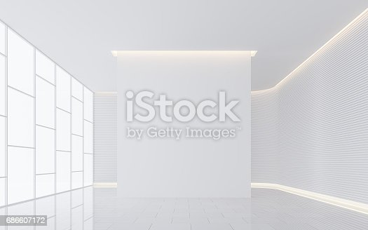 658604764istockphoto Empty white room modern space interior 3d rendering image 686607172