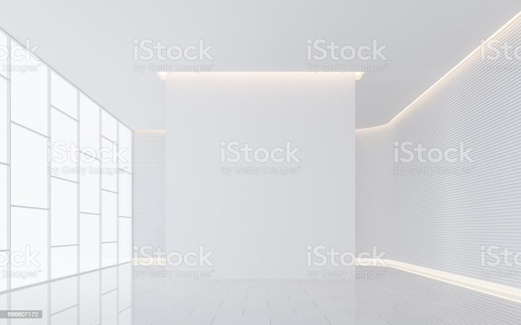 Empty white room modern space interior 3d rendering image stock photo