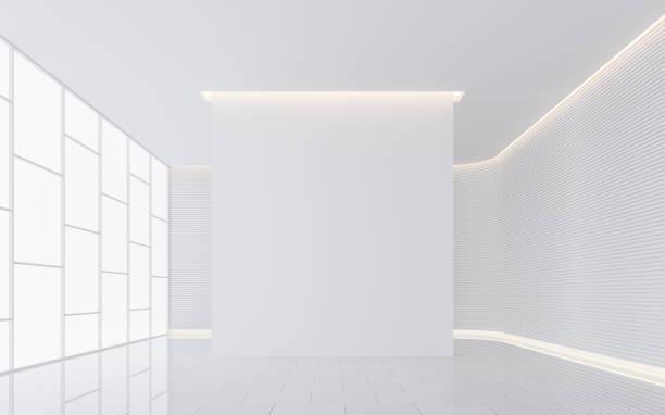 leeren weißen raum moderne raum innen 3d render bild - schlafzimmer beleuchtung stock-fotos und bilder