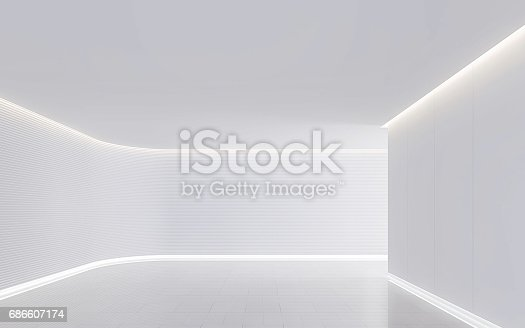 658604764istockphoto Empty white room modern space interior 3d rendering image 686607174