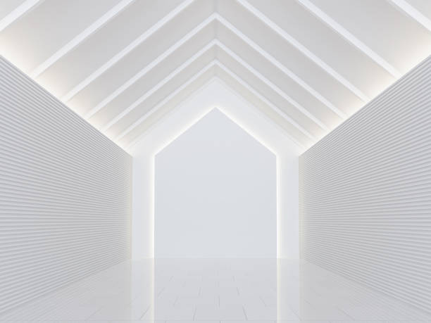 leeren weißen raum moderne raum innen 3d render bild - dachformen stock-fotos und bilder
