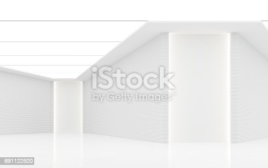 istock Empty white room modern space interior 3d rendering image 691122520