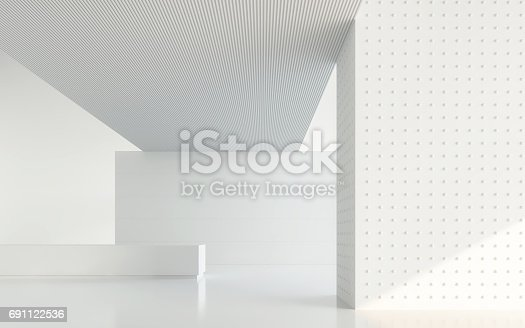 istock Empty white room modern space interior 3d rendering image 691122536