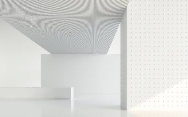 empty white room modern space interior 3d rendering image - stile minimalista foto e immagini stock