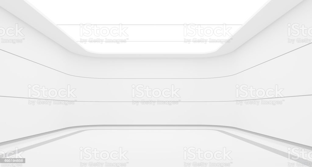 Empty white room modern space interior 3d rendering image royalty-free stock photo