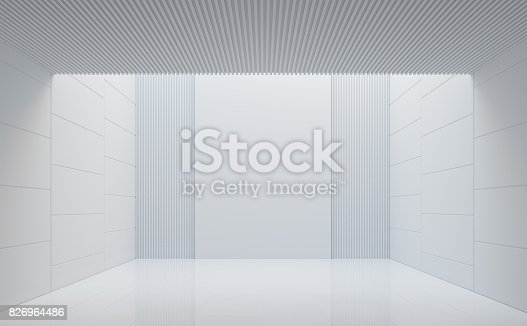 658604764istockphoto Empty white room modern space interior 3d rendering image 826964486