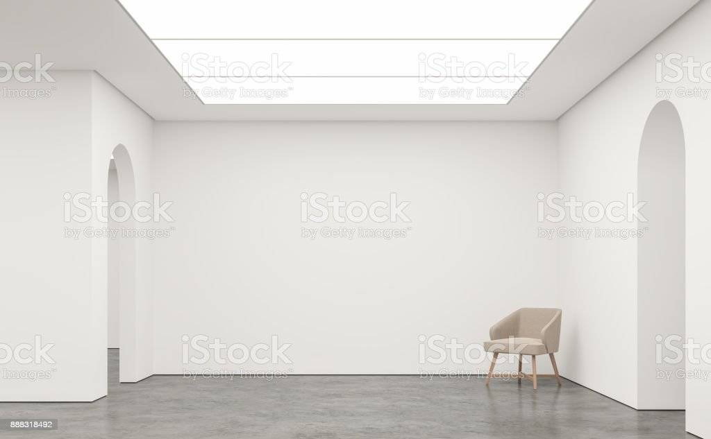 Empty white room modern space interior 3d rendering image