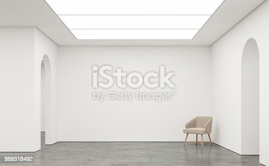 924294300 istock photo Empty white room modern space interior 3d rendering image 888318492