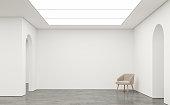 空の白い部屋モダンな空間インテリアの 3 d レンダリング画像