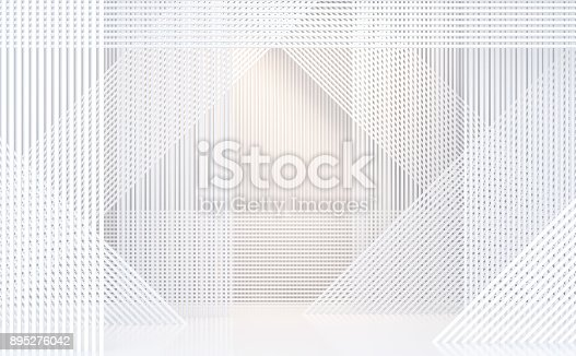 istock Empty white room modern space interior 3d rendering image 895276042