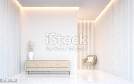 istock Empty white room modern space interior 3d rendering 658604764
