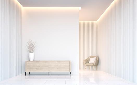 istock Empty white room modern space interior 3d rendering 658604764