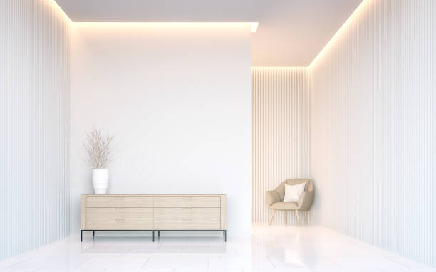 Empty white room modern space interior 3d rendering stock photo