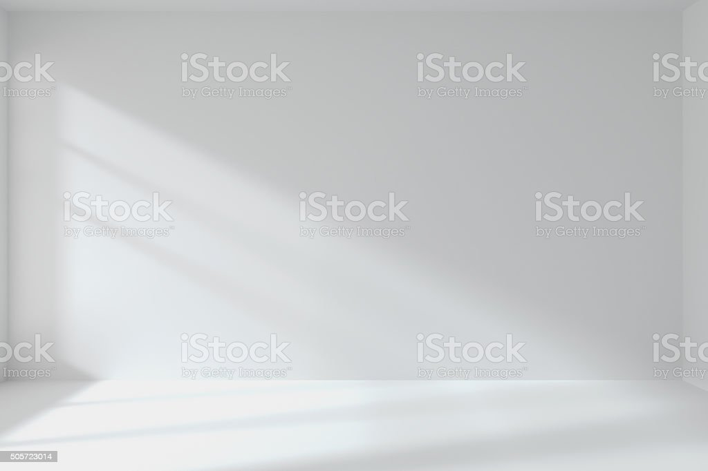 Quarto branco vazio interior com parede - foto de acervo