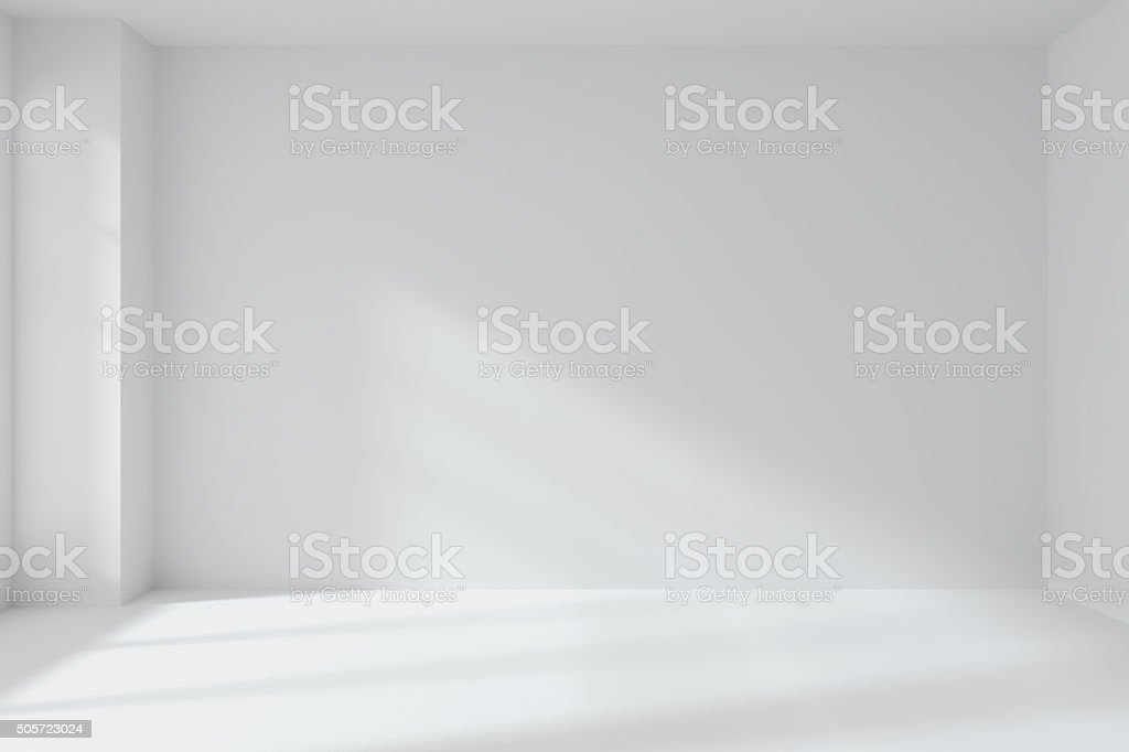 Empty white room wall with corner interior stock photo