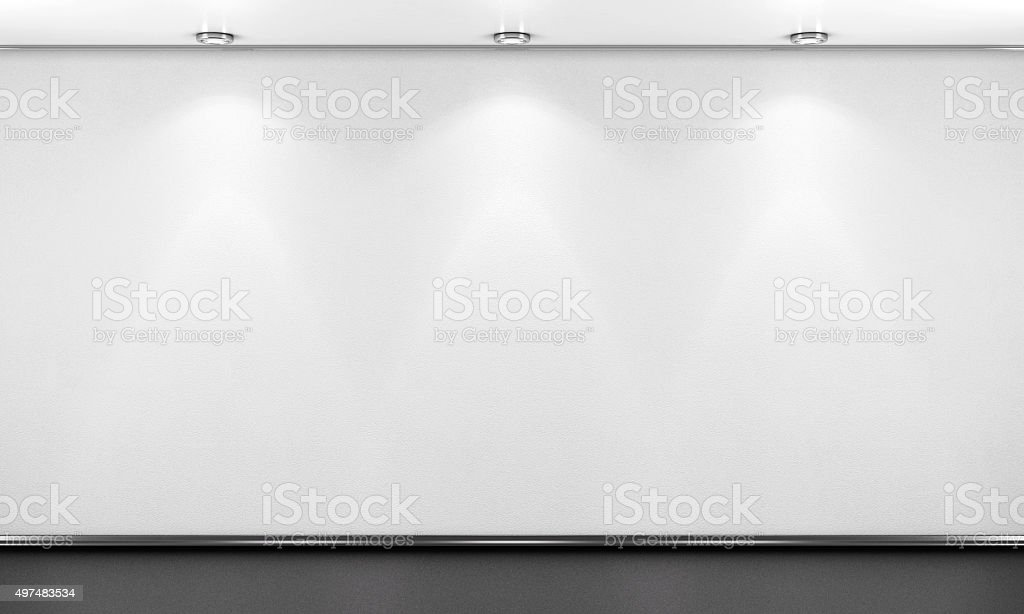Empty white room wall with lighting. 3d render image.