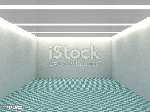 687371974 istock photo Empty white room with lighting 1191613000