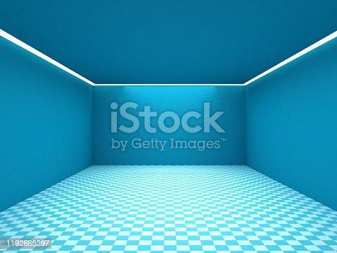 687371974 istock photo Empty white room with lighting 1192665297