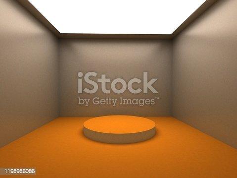 687371974 istock photo Empty white room with lighting 1198986086
