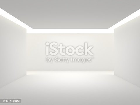 692146256 istock photo Empty white room with lighting 1201508051