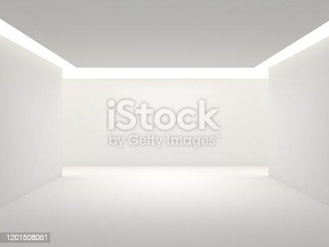 687371974 istock photo Empty white room with lighting 1201508051