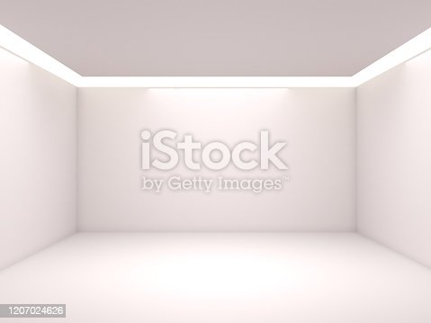 692146256 istock photo Empty white room with lighting 1207024626