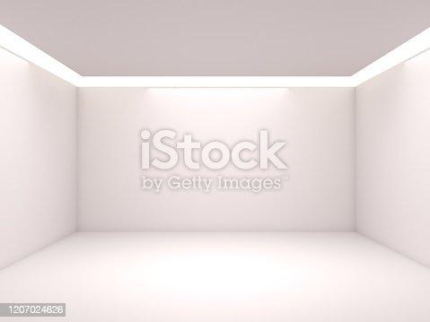687371974 istock photo Empty white room with lighting 1207024626