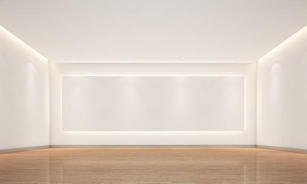 vide chambre blanche avec un éclairage - show room photos et images de collection