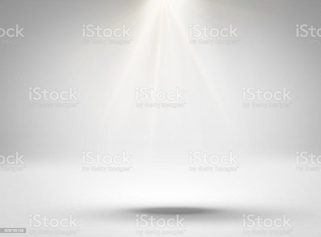 Empty white room with lighting stock photo