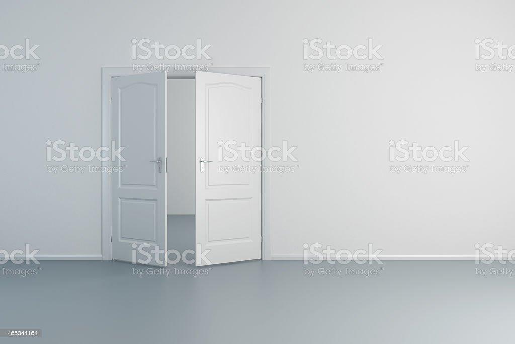 empty white room with opened door stock photo