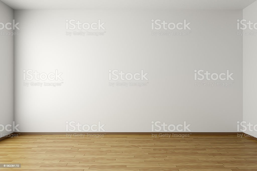 Empty white room with parquet floor stock photo